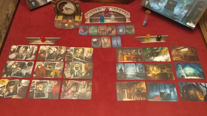 Mysterium Character, Location, and Weapon/Item cards.